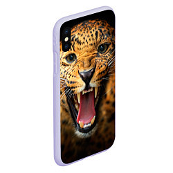 Чехол iPhone XS Max матовый Рык леопарда цвета 3D-светло-сиреневый — фото 2