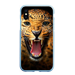Чехол iPhone XS Max матовый Рык леопарда цвета 3D-голубой — фото 1