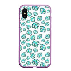Чехол iPhone XS Max матовый Бриллианты цвета 3D-фиолетовый — фото 1