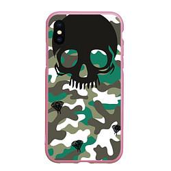 Чехол iPhone XS Max матовый Камуфляж цвета 3D-розовый — фото 1