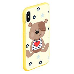 Чехол iPhone XS Max матовый Любовь мишки цвета 3D-желтый — фото 2