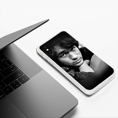 Чехол iPhone XS Max матовый Виктор Цой / 3D-Белый – фото 3