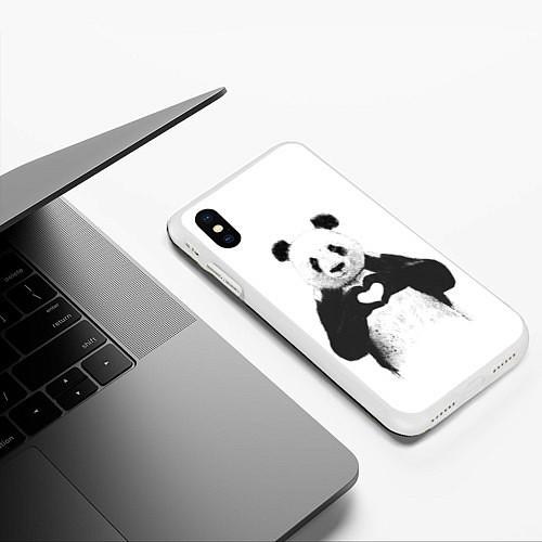 Чехол iPhone XS Max матовый Panda Love / 3D-Белый – фото 3