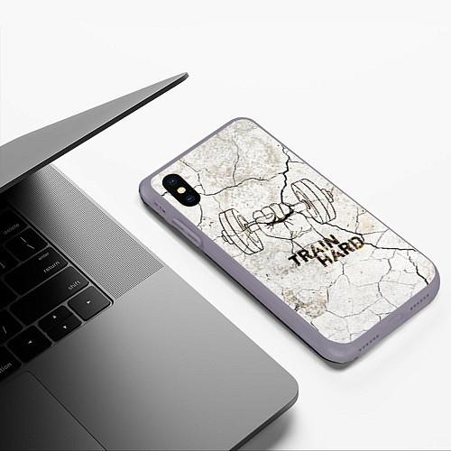 Чехол iPhone XS Max матовый Train hard / 3D-Серый – фото 3