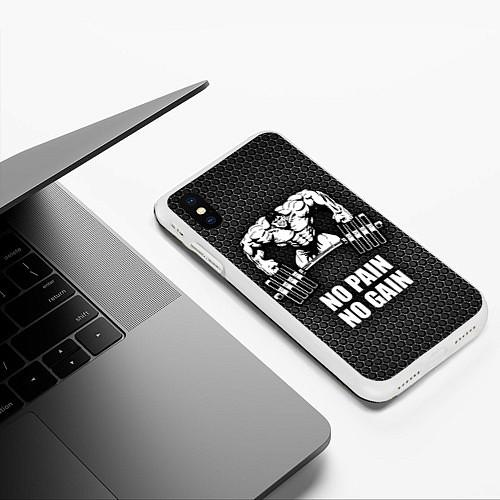 Чехол iPhone XS Max матовый No pain, no gain / 3D-Белый – фото 3