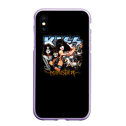 Чехол iPhone XS Max матовый Kiss Monster цвета 3D-светло-сиреневый — фото 1