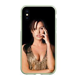 Чехол iPhone XS Max матовый Angelina Jolie цвета 3D-салатовый — фото 1