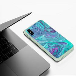 Чехол iPhone XS Max матовый Смесь красок цвета 3D-салатовый — фото 2