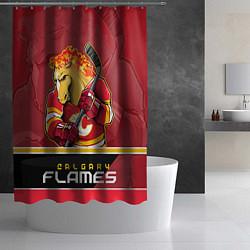 Шторка для душа Calgary Flames цвета 3D-принт — фото 2