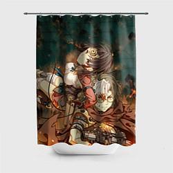 Шторка для душа Воин крепости цвета 3D — фото 1