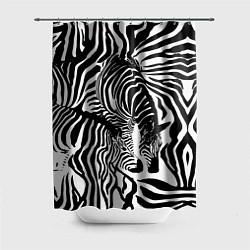 Шторка для душа Полосатая зебра цвета 3D-принт — фото 1