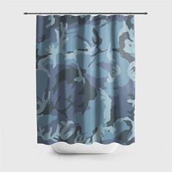 Шторка для душа Камуфляж: голубой/синий цвета 3D — фото 1