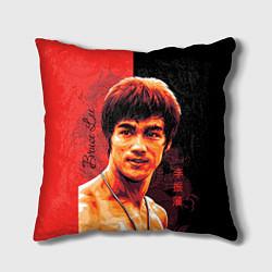 Подушка квадратная Брюс Ли цвета 3D-принт — фото 1
