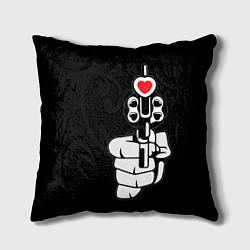 Подушка квадратная Выстрел любви цвета 3D-принт — фото 1