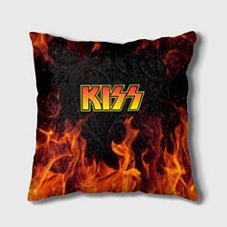 Подушка квадратная KISS цвета 3D-принт — фото 1