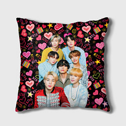 Подушка квадратная I Love BTS цвета 3D-принт — фото 1