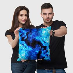 Подушка квадратная СИНИЙ ОГОНЬ цвета 3D-принт — фото 2