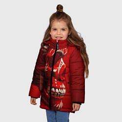 Куртка зимняя для девочки Красный череп цвета 3D-черный — фото 2