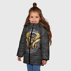 Куртка зимняя для девочки Камуфляжная обезьяна цвета 3D-черный — фото 2