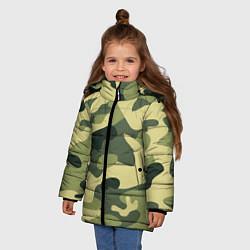 Куртка зимняя для девочки Камуфляж: зеленый/хаки цвета 3D-черный — фото 2