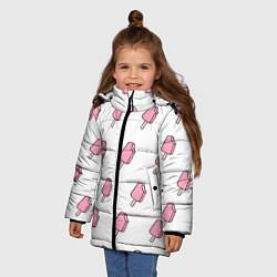 Куртка зимняя для девочки Мороженое розовое цвета 3D-черный — фото 2
