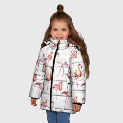 Куртка зимняя для девочки Действия фламинго цвета 3D-черный — фото 2