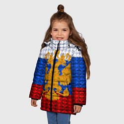 Куртка зимняя для девочки Россия: полигоны цвета 3D-черный — фото 2