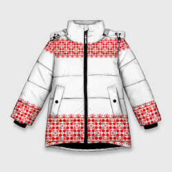 Куртка зимняя для девочки Славянский орнамент (на белом) цвета 3D-черный — фото 1