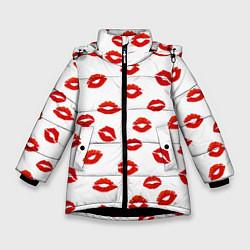 Куртка зимняя для девочки Поцелуйчики цвета 3D-черный — фото 1