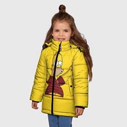 Куртка зимняя для девочки Гомер-болельщик цвета 3D-черный — фото 2
