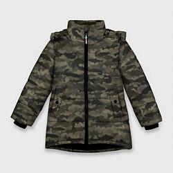 Куртка зимняя для девочки Камуфляж рыбака цвета 3D-черный — фото 1