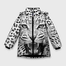 Куртка зимняя для девочки Белый леопард цвета 3D-черный — фото 1