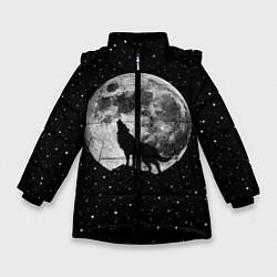 Куртка зимняя для девочки Лунный волк цвета 3D-черный — фото 1