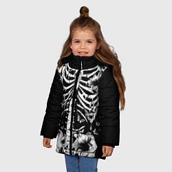 Куртка зимняя для девочки Floral Skeleton цвета 3D-черный — фото 2