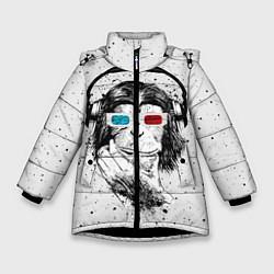 Детская зимняя куртка для девочки с принтом Обезьяна в наушниках, цвет: 3D-черный, артикул: 10117562906065 — фото 1