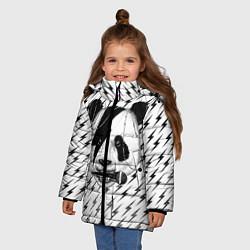 Куртка зимняя для девочки Панда вокалист цвета 3D-черный — фото 2