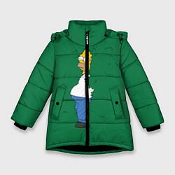 Куртка зимняя для девочки Гомер в кустах цвета 3D-черный — фото 1