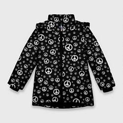 Куртка зимняя для девочки Peace Symbol цвета 3D-черный — фото 1