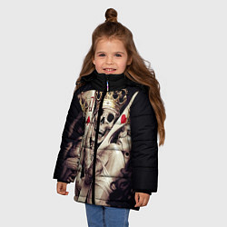 Куртка зимняя для девочки Poker Skull цвета 3D-черный — фото 2