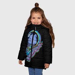 Куртка зимняя для девочки Космокот цвета 3D-черный — фото 2