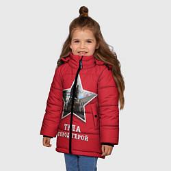 Куртка зимняя для девочки Тула город-герой цвета 3D-черный — фото 2