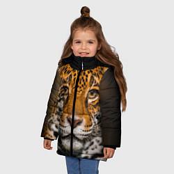 Куртка зимняя для девочки Взгляд ягуара цвета 3D-черный — фото 2