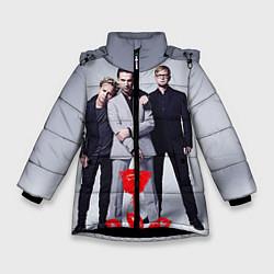 Куртка зимняя для девочки Depeche Mode: Red Flower цвета 3D-черный — фото 1