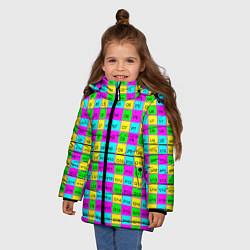 Детская зимняя куртка для девочки с принтом Тестовый яркий, цвет: 3D-черный, артикул: 10130524106065 — фото 2