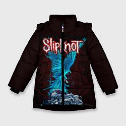 Детская зимняя куртка для девочки с принтом Орел группа Slipknot, цвет: 3D-черный, артикул: 10135999506065 — фото 1