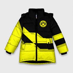 Куртка зимняя для девочки BVB FC: Yellow style цвета 3D-черный — фото 1