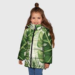 Куртка зимняя для девочки Тропический папоротник цвета 3D-черный — фото 2
