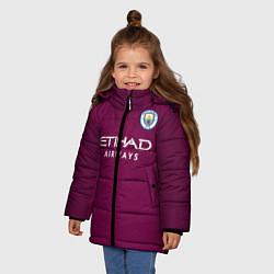 Детская зимняя куртка для девочки с принтом Man City FC: Away 17/18, цвет: 3D-черный, артикул: 10137896106065 — фото 2