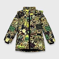 Куртка зимняя для девочки Стикер бомбинг цвета 3D-черный — фото 1