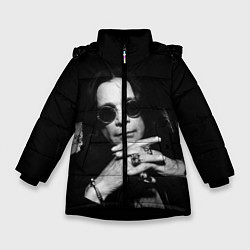 Детская зимняя куртка для девочки с принтом Оззи Осборн, цвет: 3D-черный, артикул: 10138077306065 — фото 1